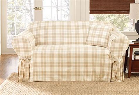 plaid slipcover loose sofa cover loose fit linen manstad sofa slipcovers