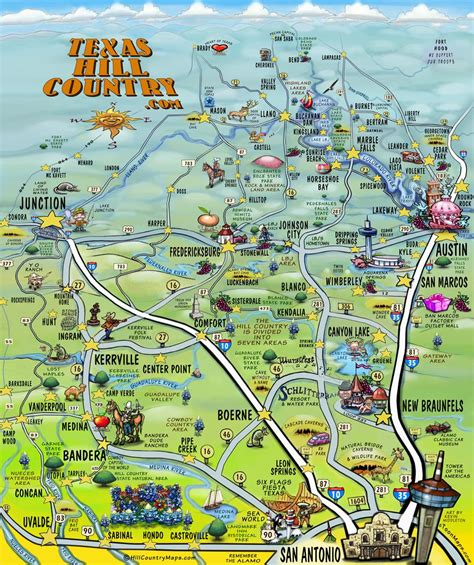map of texas hill country area the texas hill country map