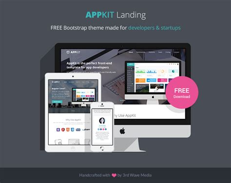 Appkit Landing Free Bootstrap Theme For Developers And Startups Responsive Bootstrap Themes Software Developer Portfolio Template