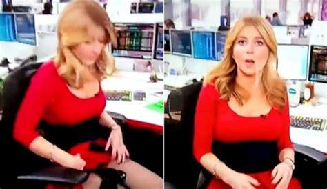 reporter embarrassing wardrobe adjustment on