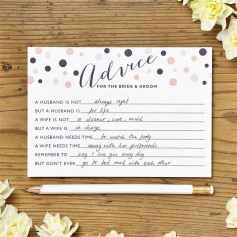 Wedding Wisdom Advice by Marriage Advice Cards Pack Of 10 Cards By Intwine