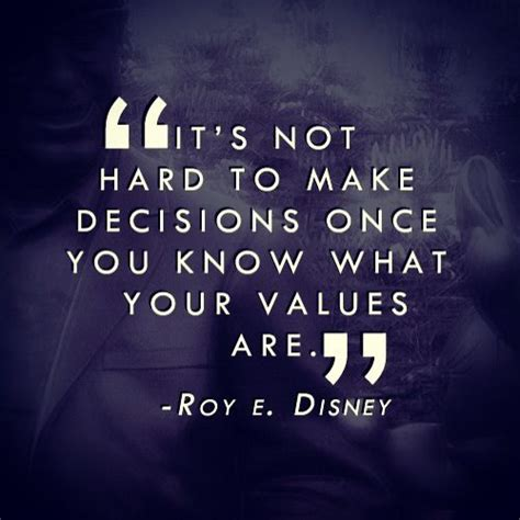 roy values quot it s not to make decisions once you what your