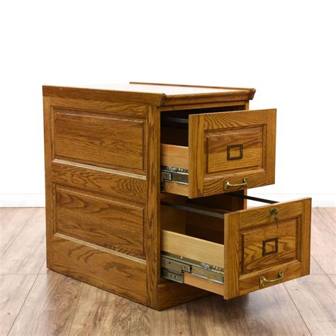 Solid Oak 2 Drawer Filing Cabinet Loveseat Vintage Solid Wood 2 Drawer File Cabinet