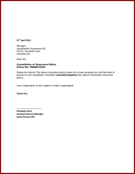 Cancellation Letter For Insurance How To Write A Insurance Cancellation Letter With Sle Cover Letter Templates
