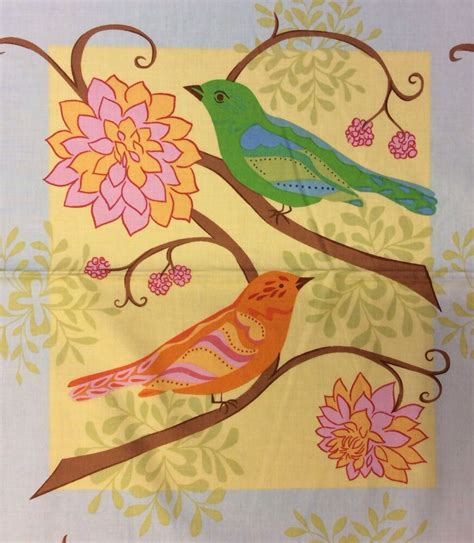 pnl colorful birds flowers blocks whimsical gypsy cotton