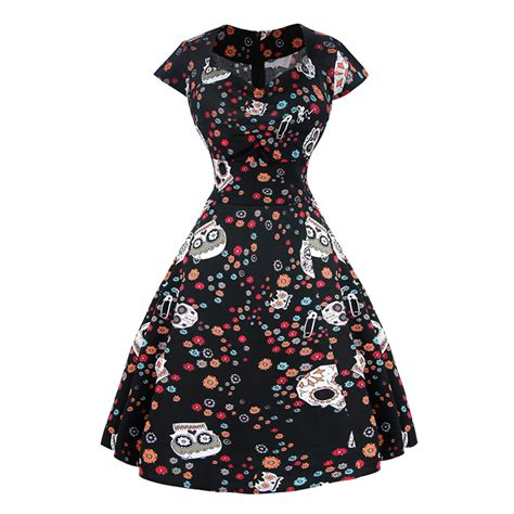 skull swing dress classical vintage sweet women cap sleeves floral skull