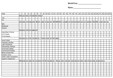 printable migraine journal headache chart bing images migraine chronic pain