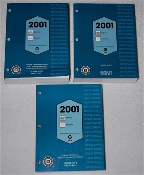 service and repair manuals 2001 chevrolet express 2500 electronic toll collection 2001 chevy express van gmc savana 1500 2500 3500 factory shop service manual set factory