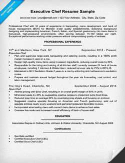 best executive chef resume sles chef cover letter sle writing tips resume companion
