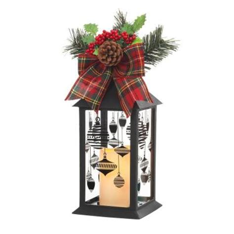 outdoor christmas decorations at home depot home accents holiday 13 in black plastic lantern with