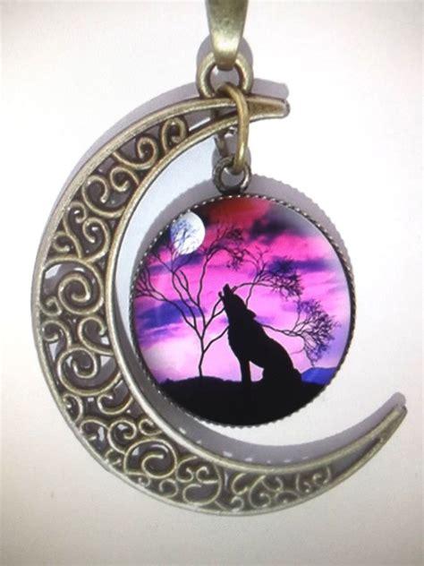 vintage bronze crescent moon howling wolf pendant necklace