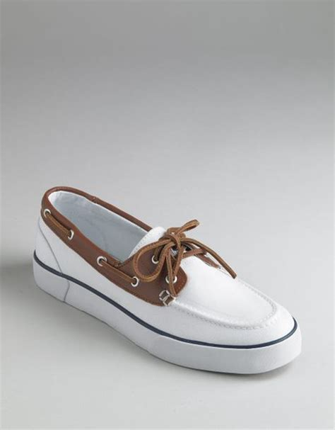polo ralph rylander canvas boat shoes in white for