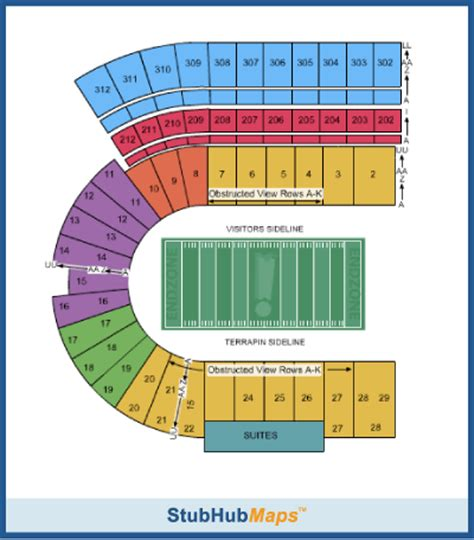 seating charts maryland terrapins athletics university maryland football maryland stadium espn