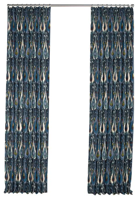 Blue Ikat Curtains Modern Navy Blue Ikat Pleated Curtain Single Panel Mediterranean Curtains By Loom Decor