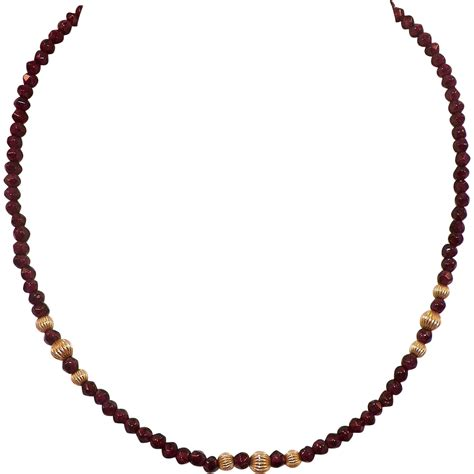 gold plated bead necklace vintage garnet bead necklace with gold plated spacers from