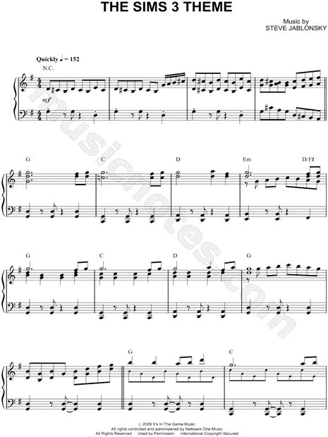 theme music in 3 quot the sims 3 theme quot from the sims 3 sheet music piano