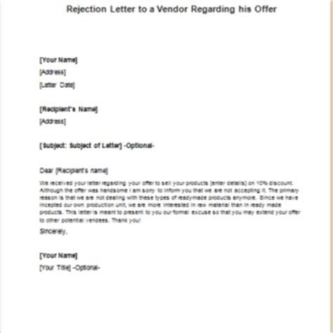 Rejection Letter Template For Vendor Formal Official And Professional Letter Templates Part 13