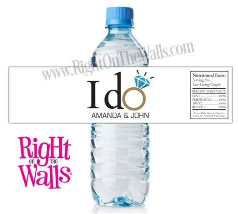 Wedding Water Bottle Labels by Custom Wedding Water Bottle Labels I Do With Ring