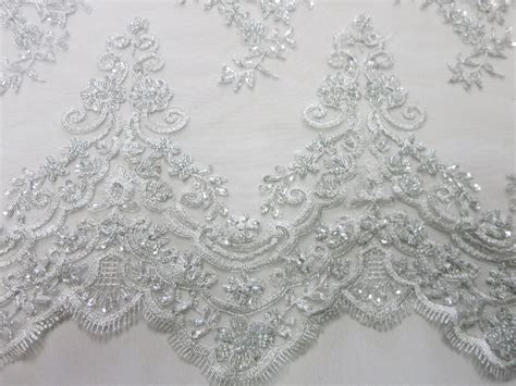 beaded lace silver mesh with embroidery beaded lace by fabric universe