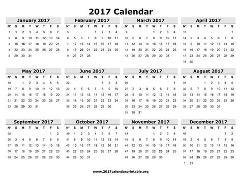 printable calendar weekdays only free printable 2017 only calendar with week numbers