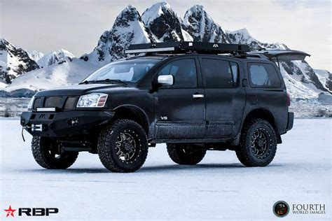 custom lifted nissan armada rbp wheels tactical in satin black machined on a lifted