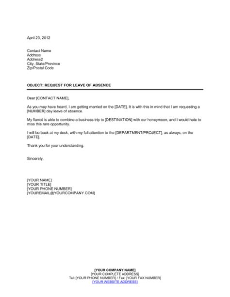 request for leave of absence template amp sample form
