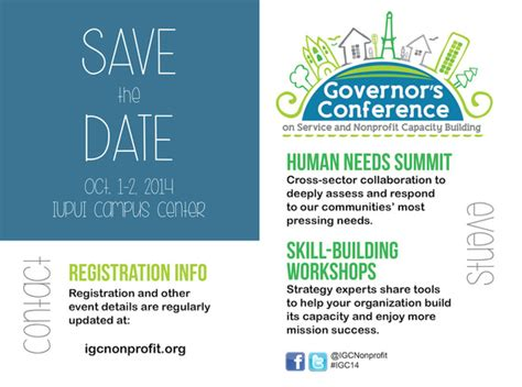 Save The Date Oct 1 2 2014 Governor S Conference On Service Nonprofit Capacity Building Conference Save The Date Email Template