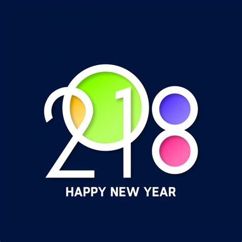colorful happy new year 2018 text design vector free