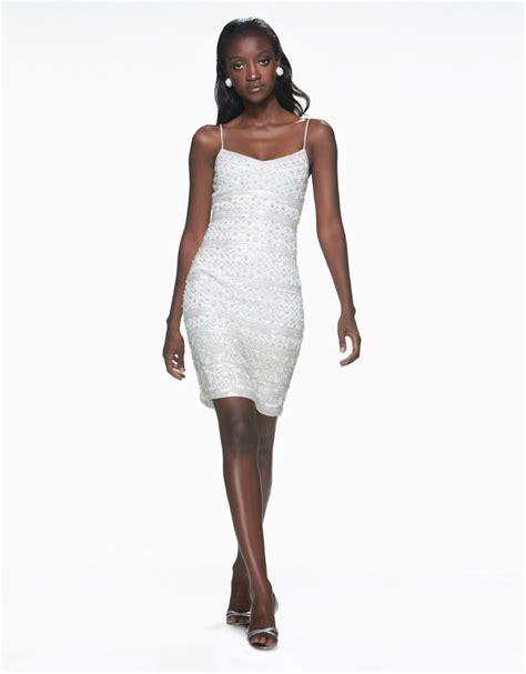beaded slip dress theia beaded slip dress in white lyst