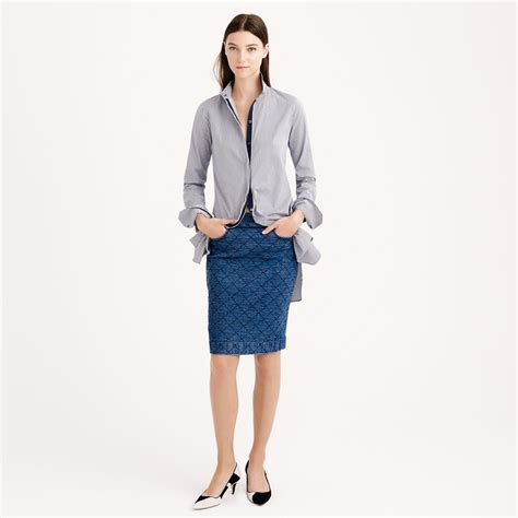 j crew quilted denim pencil skirt in blue fall wash lyst