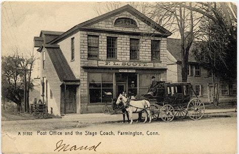 Farmington Post Office by Farmington Ct Post Office And Stage Coach Circa 1900