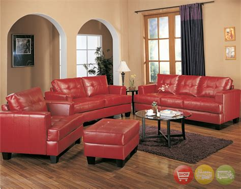 red furniture living room samuel red bonded leather sofa and love seat living room set