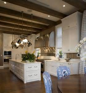 exposed beams ceiling traditional kitchen