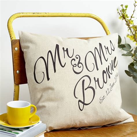 personalised mr and mrs cushion by tillyanna