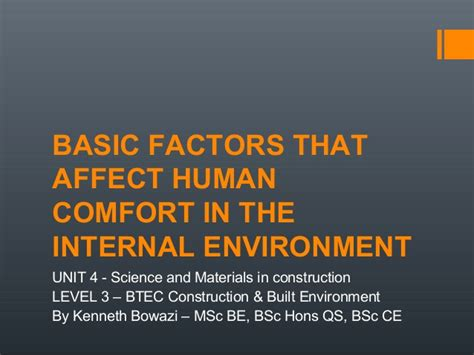 Basic Factors That Affect Human Comfort