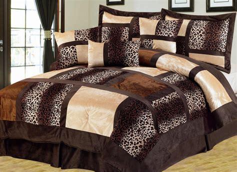 Leopard Bed Sets 11 Leopard Patchwork Faux Fur Microfiber Bed In A Bag Set