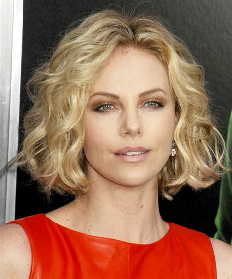 casual hairstyles for medium length curly hair charlize theron short wavy casual bob hairstyle medium