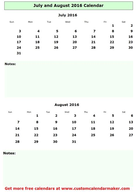 Calendar 2016 July And August July And August 2016 Calendar Free Printable Template
