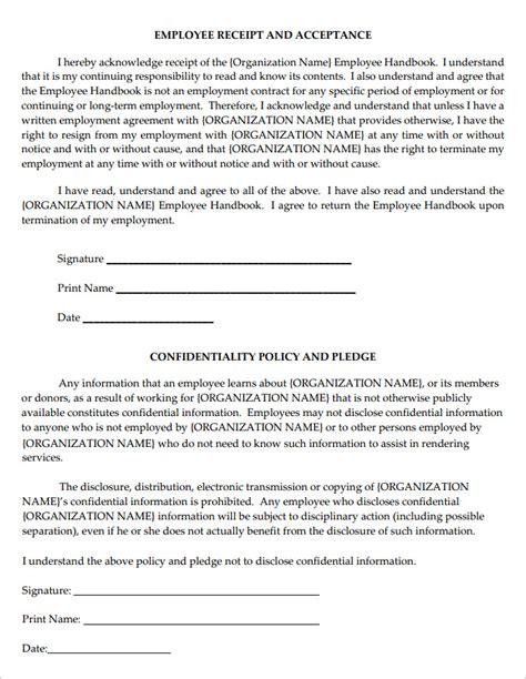 employee handbook receipt template 14 sle employee handbook manual templates free