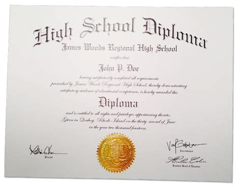 high school diploma template with seal high school diplomas certificates