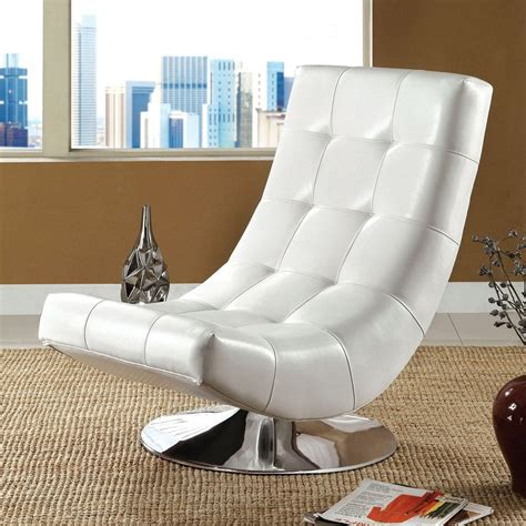 furniture  america trinidad modern white faux leather accent chair  lowescom