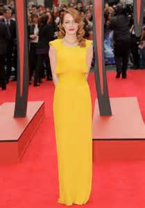 emma stone yellow versace emma stone stuns in atelier versace at quot the amazing spider
