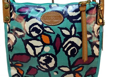 Fossil Satchel Abstrac fossil coated canvas floral roses keyper crossbody purse handbag new ebay