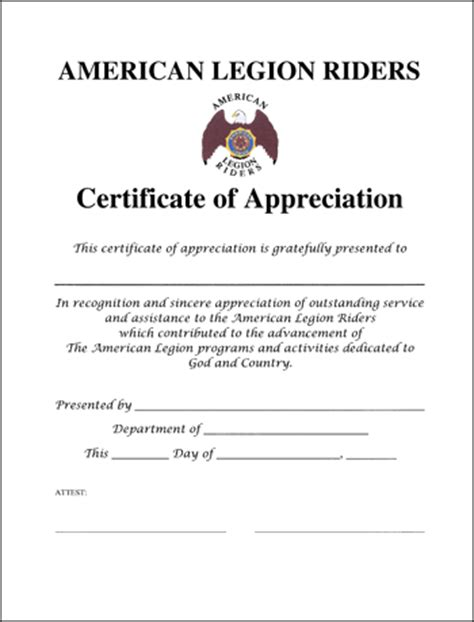 Legion Riders Certificate Of Appreciation American Legion Flag Emblem American Legion Business Card Templates
