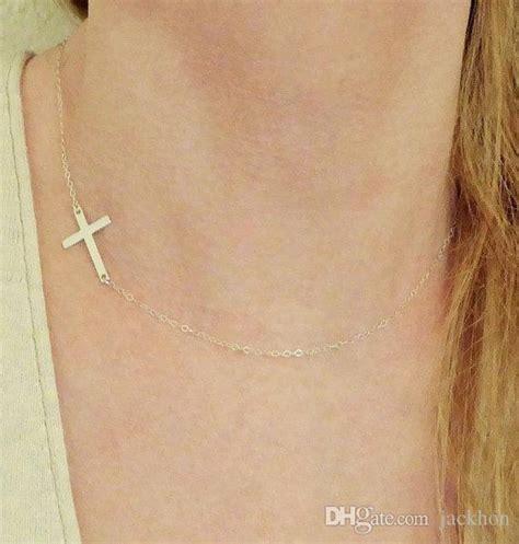 N063 A wholesale n063 gold silver sideways cross necklace