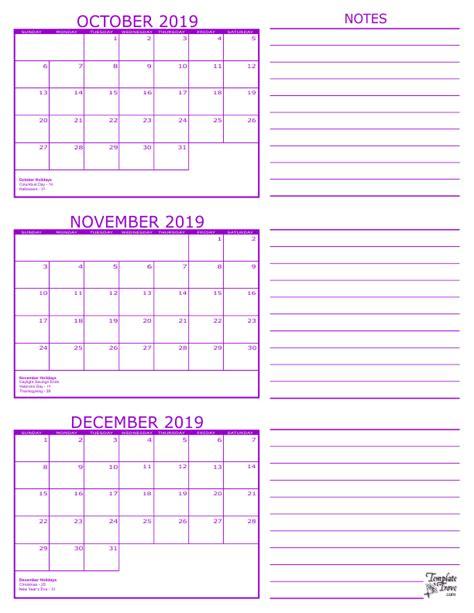 3 Month Calendar 2019 3 Month Schedule Template