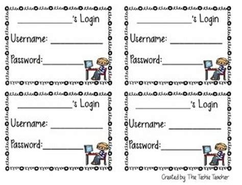 computer login card template student computer login cards editable student cards