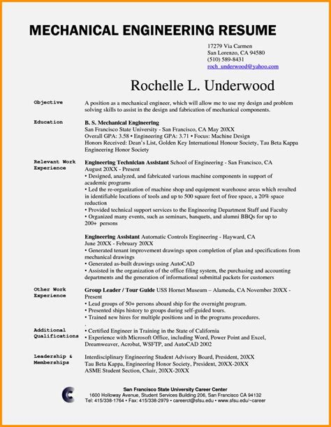 mechanical engineer cv exle resume template cover