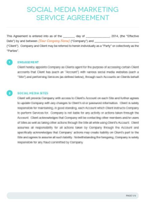 Social Media Contract Templates Word Excel Sles Social Media Contract Template