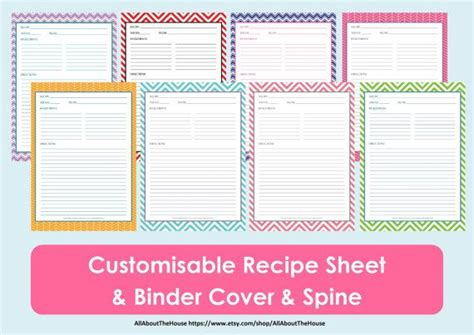recipe binder templates printable recipe sheet template recipe card recipe